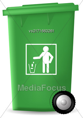 Green PlasticTrashcan Isolated On White Backgrouund. Green Trash Bin Stock Photo