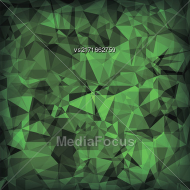 Green Polygonal Background. Green Crystal Triangle Pattern Stock Photo