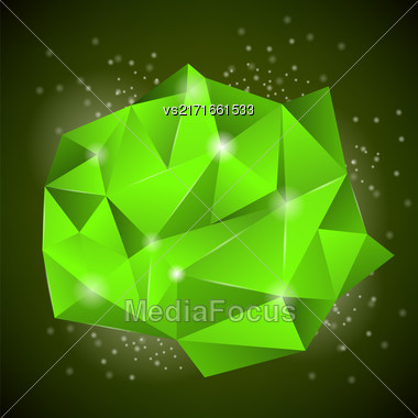 Green Polygonal Stone Isolated On Dark Background Stock Photo