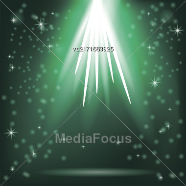 Green Rays Of Magic Lights On Blurred Starry Background. Night Sky Stock Photo