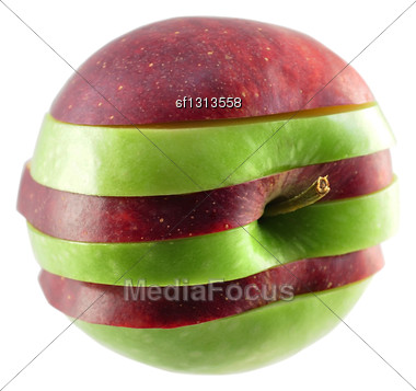 Green And Red Sliced Apple On White Background Stock Photo