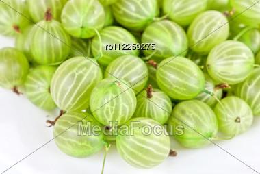 Green Ripe Gooseberries Stock Photo