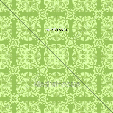 Green Seamless Geometric Greek Ornament. Square Wave Forms In Greek Style Stock Photo