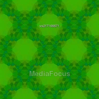 Green Seamless Polygonal Pattern. Abstract Geometric Background Stock Photo