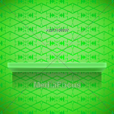 Green Shelf On Ornamental Green Lines Background Stock Photo