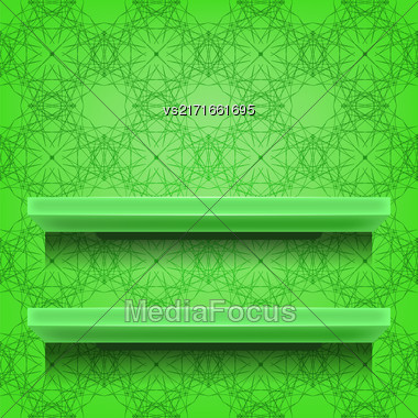 Green Shelves On Ornamental Green Lines Background Stock Photo