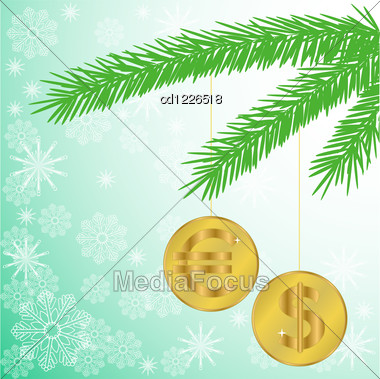 Green Silhouette Of A Fir Branch With Two Shiny Coins Stock Photo