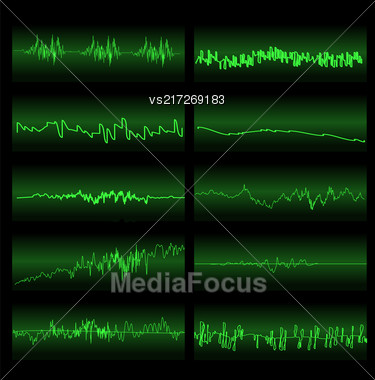 Green Sound Waves Set. Screen Of Equalizer. Musical Vibration Graph. Radio Wave Amplitude Stock Photo