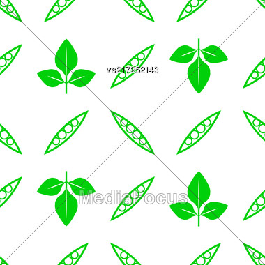 Green Soybeans Seamless Pattern Isolated On White Background Stock Photo