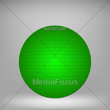 Green Sphere On Grey Background For Your Design Stock Photo