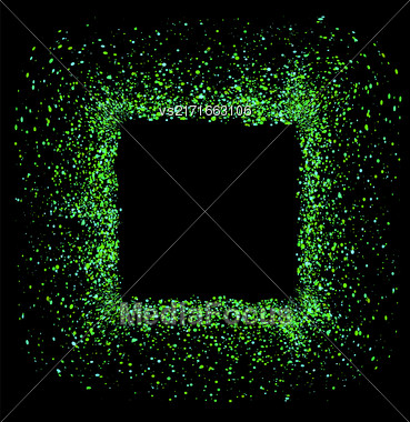 Green Square Frame Isolated On Black Background Stock Photo