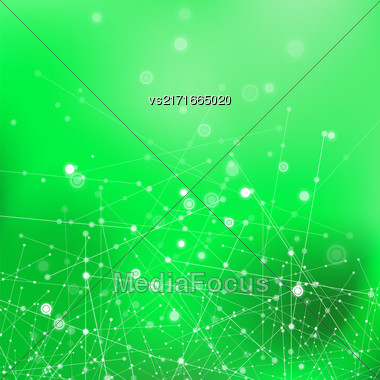 Green Technology Background With Particle, Molecule Structure. Genetic And Chemical Compounds. Communication Concept. Space And Constellations Stock Photo