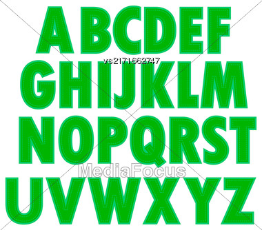 Green Textile Alphabet Isolated On White Background Stock Photo