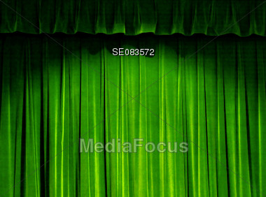 Green Theater Curtain Stock Photo