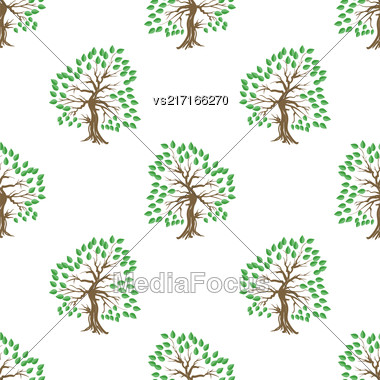 Green Tree Seamless Pattern. Summer Leaves Background Stock Photo