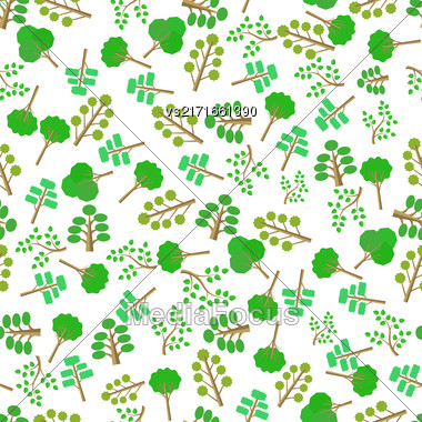 Green Trees Silhouettes Seamless Pattern On White Stock Photo