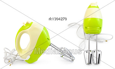 Green With White Mixer From Two Angles - Side And Front Stock Photo