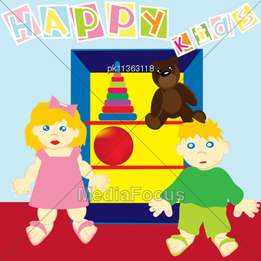 Greeting Card With Bear And Kids. Vector Illustration. Stock Photo