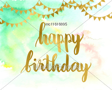 Greeting Card For Birthday With Hand Drawn Art Green Hand Drawn Texture Background And Text Happy Birthday With Gold Flag Garlands Stock Photo