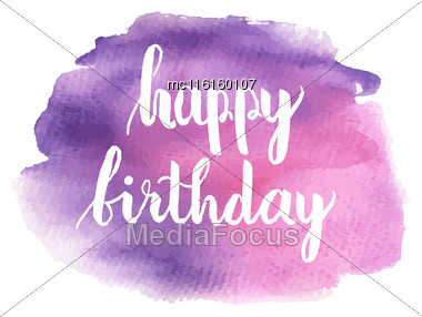 Greeting Card For Birthday With Pattern Of Gold Foil Confetti And Text Happy Birthday On White Background Stock Photo