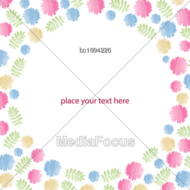Greeting Card With Flowers, Watercolor, Can Be Used As Invitation Card For Wedding, Birthday And Other Holiday And Summer Background. Vector Format Stock Photo