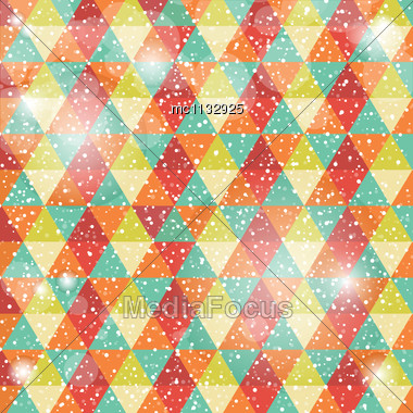 Greeting Card With Geometrical And Snowflakes Background Stock Photo