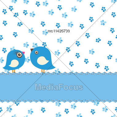 Greeting Card With Two Cute Birds On Watercolor Painting Seamless Background Stock Photo