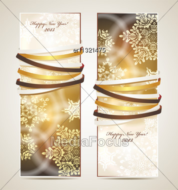 Greeting Cards With Ribbons, Snowflakes And Copy Space Stock Photo