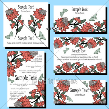 Greeting Invitation Card Set With Floral Design Stock Photo