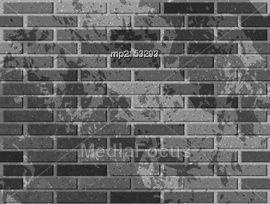 Grey Brick Wall. Vector Illustration With Noise Textures Stock Photo