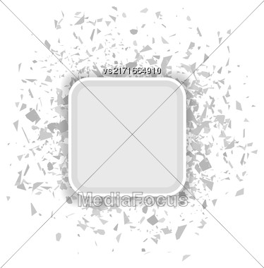 Grey Confetti Banner Isolated On White Background. Set Of Particles Stock Photo