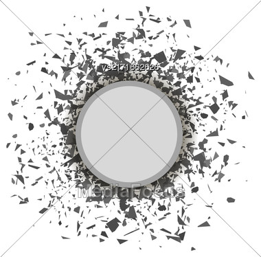 Grey Confetti Round Banner Isolated On White Background. Set Of Particles Stock Photo