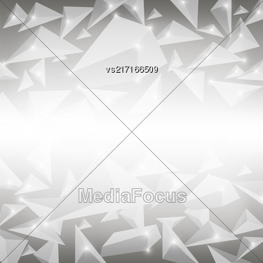 Grey Crystal Pattern. Explosion Of Particles. Abstract Parts Background Stock Photo