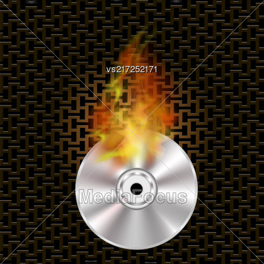 Grey Digital Burning Compact Disc With Fire And Flame On Dark Steel Perforated Grid Stock Photo