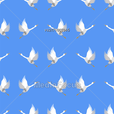 Grey Geese Seamless Pattern On Blue Background. Animal Bird Texture Stock Photo