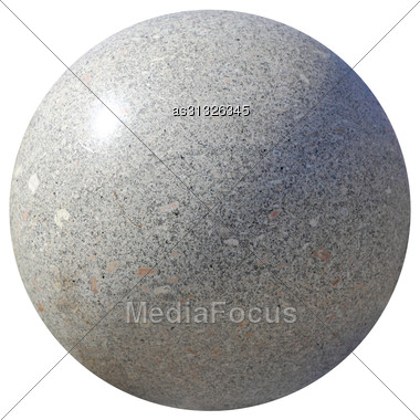 Grey Granite Spheres Isolated On A White Background Stock Photo