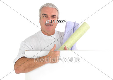 Grey Haired Decorator Stock Photo