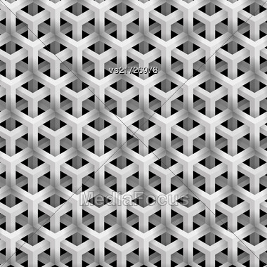 Grey Line Geometric Pattern On Black Background. Isometric Structure Stock Photo