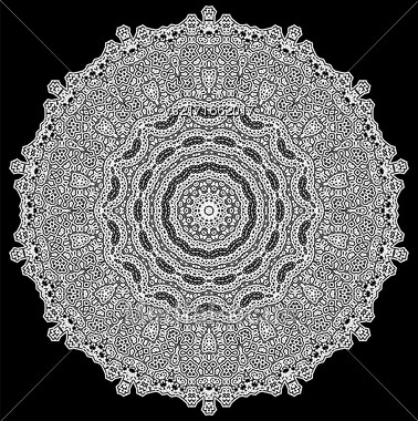 Grey Mandala Isolated On Black Background. Round Ornament Stock Photo