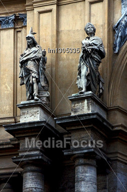 Grey Marble Statue Of Divinity In The Monument Galleria Vittorio Emanuele Naples Italy Stock Photo