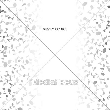 Grey Musical Notes Pattern On White Background Stock Photo