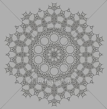 Grey Ornamental Line Pattern. Endless Texture. Oriental Geometric Ornament Stock Photo
