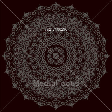 Grey Ornamental Line Pattern. Snowflake Texture. Oriental Geometric Ornament Stock Photo