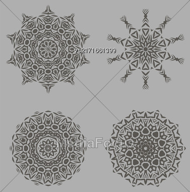 Grey Ornamental Line Rosettes. Endless Texture. Oriental Geometric Ornaments Stock Photo