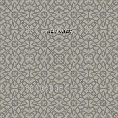 Grey Ornamental Seamless Line Pattern. Endless Texture. Oriental Geometric Ornament Stock Photo