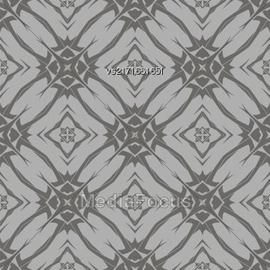 Grey Ornamental Seamless Line Pattern. Endless Texture. Oriental Geometric Ornament Stock Photo