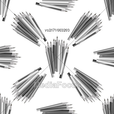 Grey Pencils Isolated On White Background. Grey Pencils Seamless Pattern Stock Photo