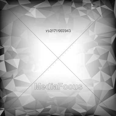 Grey Polygonal Background. Gray Crystal Triangle Pattern Stock Photo