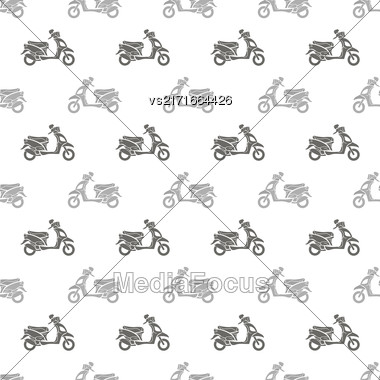 Grey Scooters Isolated On White Background. Seamless Scooter Pattern Stock Photo