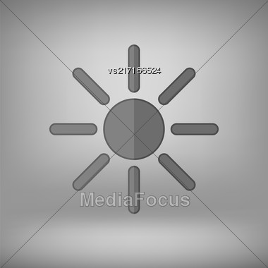 Grey Sun Icon Isolated On Grey Soft Background Stock Photo